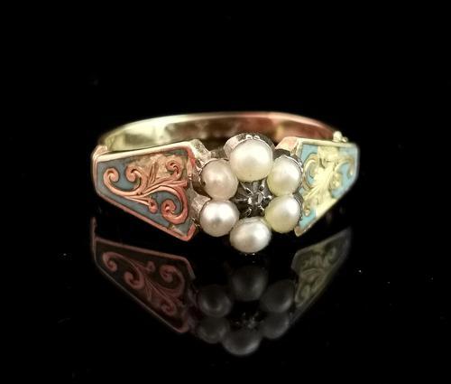 Antique Regency Mourning Ring, 18ct Gold, Blue Enamel (1 of 10)