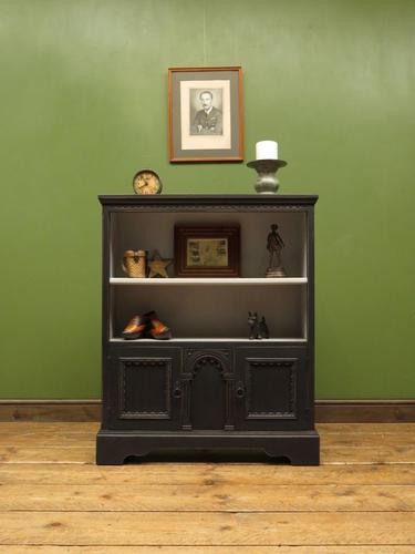 Black Painted Bookcase Cabinet with small cupboard, Gothic Shabby Chic (1 of 18)