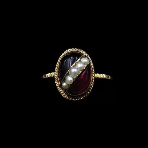 Antique Cabochon & Pearl Stripe 14K Gold Conversion Ring (1 of 8)