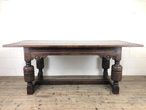 Antique Carved Oak Refectory Dining Table (1 of 15)