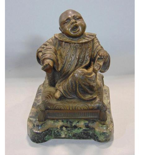 Good Quality Novelty Bronze Chinese Boy Inkstand / Striker 19th Century (1 of 4)