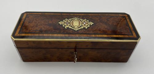 Victorian Burr Cedar Glove Box Cross Banded in Tulipwood (1 of 13)