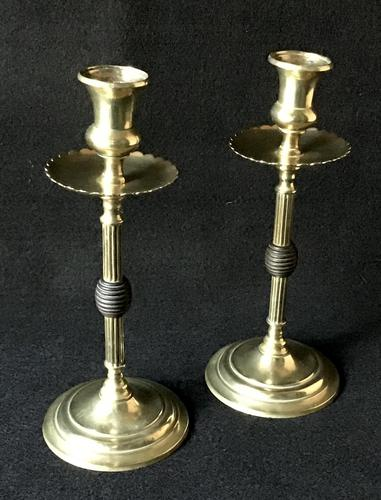 Pair of Arts and Crafts Brass and Ebony Candlesticks (1 of 4)