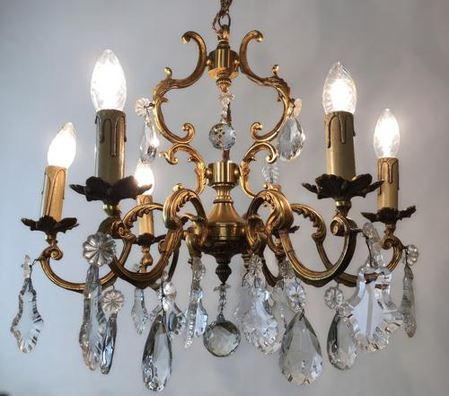 Antique French Large & Heavy Chandelier Gilt Bronze Ceiling Light with Crystal Droplets (1 of 7)