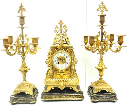 Superb Antique French Ormolu Mantel Candelabra Clock Set Embossed Decoration Finial 8 Day Striking (1 of 15)