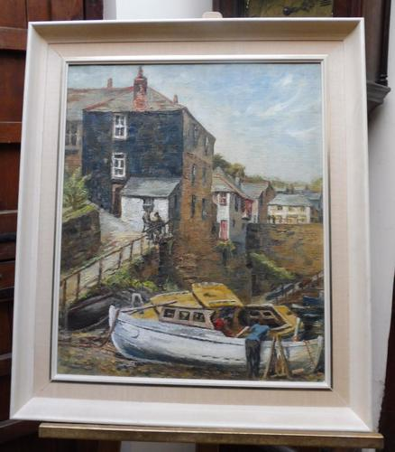 Oil on Canvas Cornish Harbour View Listed Artist Dora Johns 1966 (1 of 10)