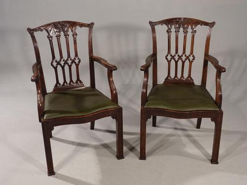 Excellent Quality Pair of Early 20th Century Chippendale Design Mahogany Elbow Chairs (1 of 6)
