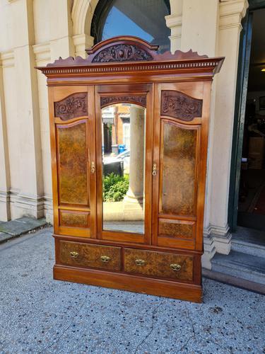 Antique Walnut Wardrobe with Burr Walnut Panels (1 of 11)