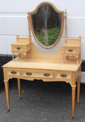 1900's Elegant Country Pine Dressing Table with Central Mirror (1 of 4)