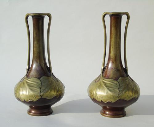 Pair of Signed Japanese Meiji Overlaid Bronze Vases (1 of 8)