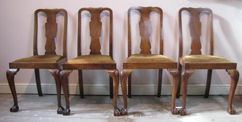 Set of four Queen Anne style mahogany dining chairs (1 of 6)