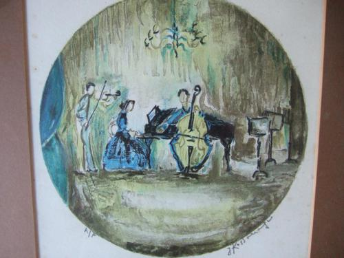 Joseph Kossonogi Artist's Proof Lithograph of Musicians Playing (1 of 4)