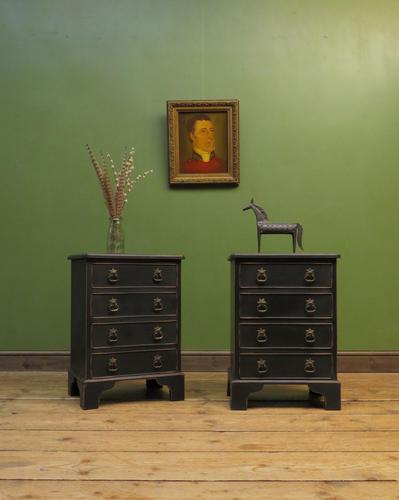 Pair of Antique Style Black Painted Bedside Chests, Gothic Shabby Chic (1 of 13)