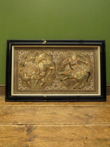 Framed Vintage Balinese Embroidered Tapestry of Two Gentlemen Warriors (1 of 12)