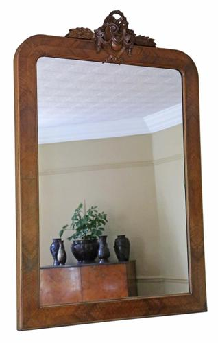 Walnut overmantle wall mirror C1900 (1 of 9)