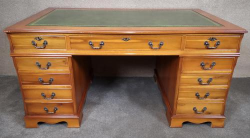 Large Yew Twin Pedestal Leather Top Desk (1 of 10)
