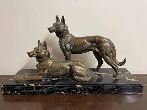 Art Deco Spelter German Shepherd Dogs On Marble Base (1 of 7)