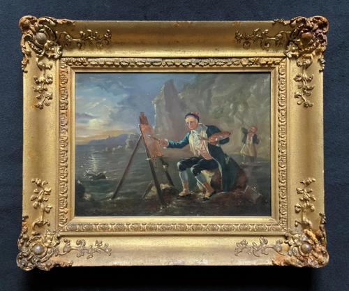 Late 18th Century 'British School' Original Oil Portrait Painting of a Shoreline Artist (1 of 12)