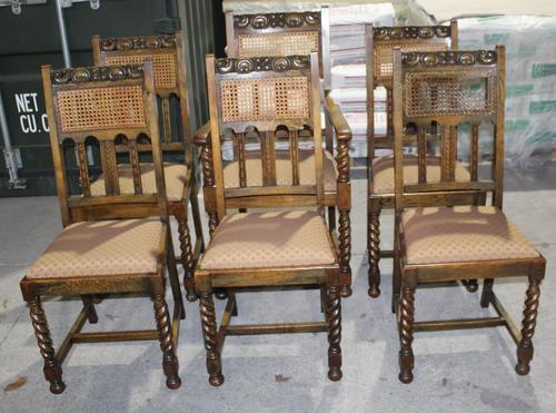 1920s Set 6 Oak Barley Twist Dining Chairs with Cane Backs (1 of 3)