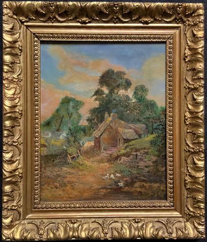 Original 19th Century British Farmland Countryside Landscape Oil Painting (1 of 11)