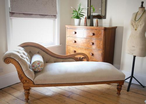 Edwardian Mahogany Framed Chaise Longue with Button Back Upholstery (1 of 12)