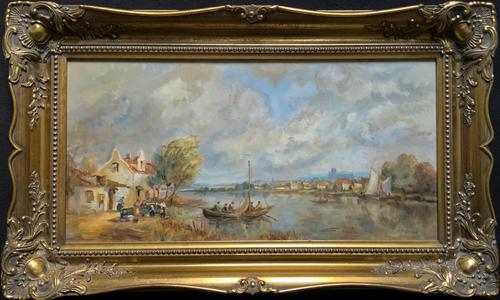 A Beautiful Original Signed Continental Impressionist Riverscape Oil Painting (1 of 12)