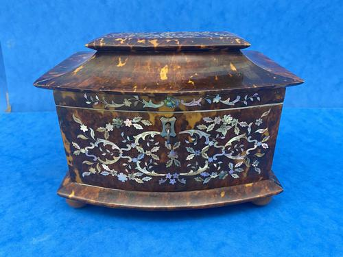 Victorian Tortoiseshell Tea Caddy with Mother of Pearl Inlay (1 of 20)