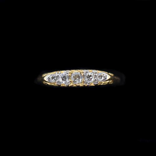 Antique Victorian Old Cut Diamond Five Stone 18k 18ct Yellow Gold Scroll Ring (1 of 9)
