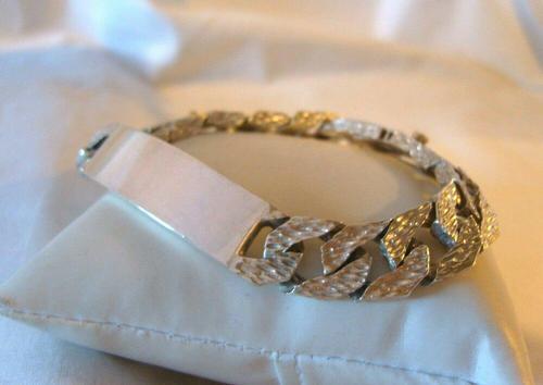 "Vintage Sterling Silver Gentlemans ID Bracelet 66.7 Grams 8 3/4"" Length (1 of 12)"