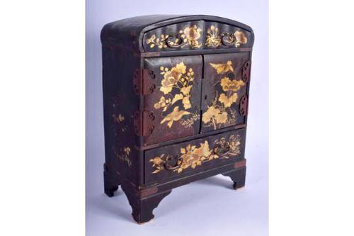 Japanese Meji Period Black Lacquer Table Cabinet (1 of 1)