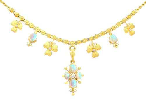 3.45ct Opal & 0.27ct Diamond, 22ct Yellow Gold Necklace - Antique c.1890 (1 of 9)