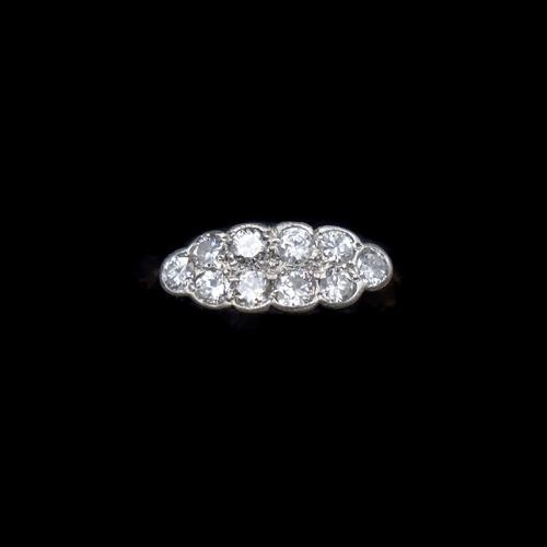 Antique Old Cut Diamond 10 Stone Double Row 18k 18ct Yellow Gold Ring (1 of 9)
