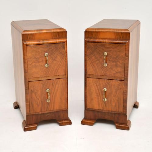 Pair of Art Deco Figured Walnut Bedside Chests (1 of 10)