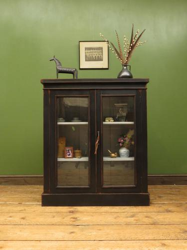 Antique Black Display Cabinet Bookcase, Alcove Cabinet, Gothic Shabby Chic (1 of 17)
