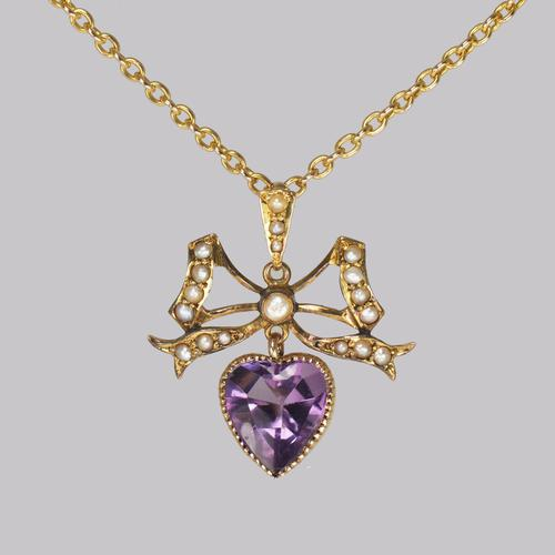 Antique Seed Pearl & Amethyst Pendant 15ct Gold Victorian / Edwardian Necklace (1 of 10)