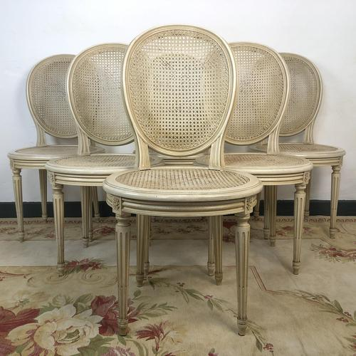 Vintage French Set of 6 Bergère Cane Dining Chairs Medallion Louis Style (1 of 11)