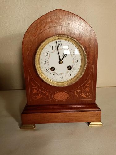 Inlaid Light Mahogany Lancet-top Mantel Clock (1 of 7)