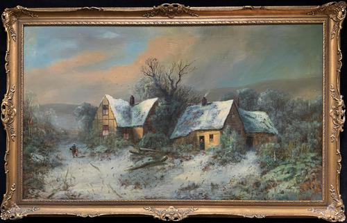 Very Large Outstanding 19th Century British Winter Snow-capped Landscape Oil Painting (1 of 13)