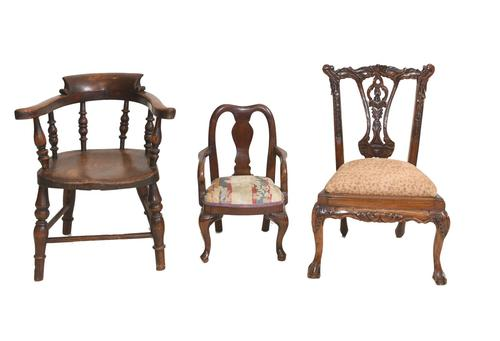 Set of Antique Child Chairs Chippendale Queen Anne (1 of 16)
