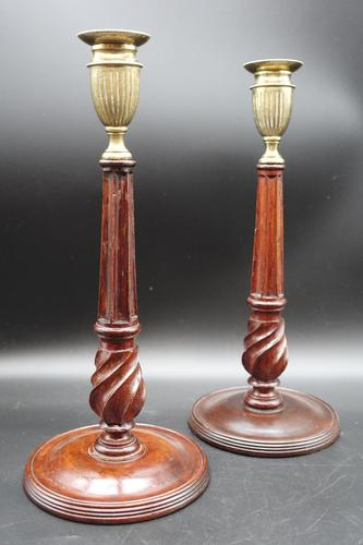 Fine Pair of George III Period Mahogany & Brass Candlesticks (1 of 5)