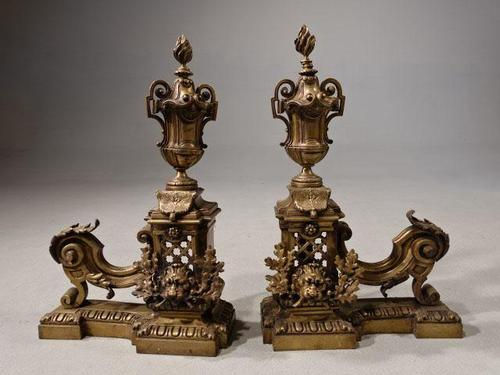 Late 19th Century Pair of French Bronze Chenet (1 of 4)