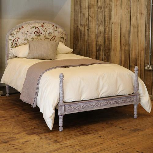 Upholstered Antique Bed with Painted Frame (1 of 8)