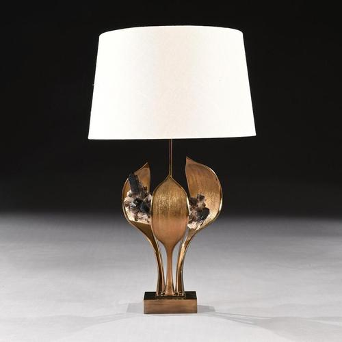 Impressive 1970 Gilt Bronze and Quartz Lamp by Willy Daro (1 of 10)