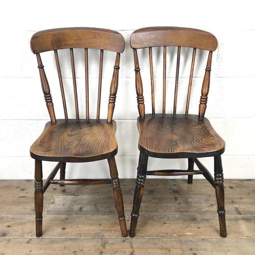 Pair of Antique Elm Farmhouse Kitchen Chairs (1 of 8)