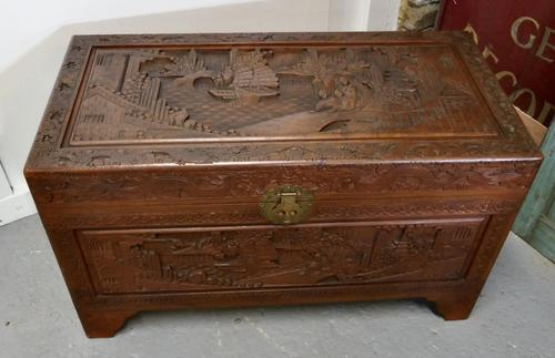 Carved Oriental Camphor Wood Chest (1 of 8)