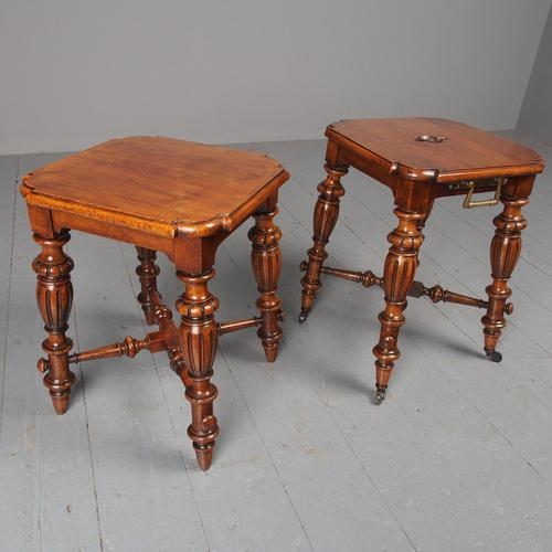 Antique Pair of Red Walnut Stools (1 of 11)