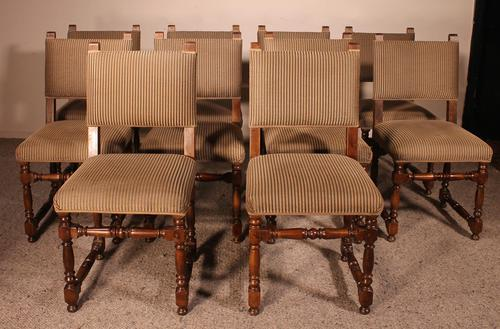 Set Of 10 Louis XIII Style Chairs In Walnut (1 of 11)