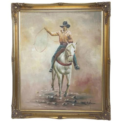 Fine Art American 20th Century Oil Canvas Painting Rodeo Cowboy Riding Horseback (1 of 14)