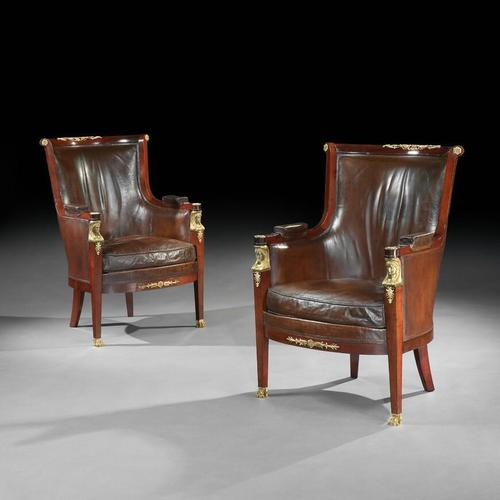 Pair of 19th Century Gilt Bronze Mounted Moroccan Leathered Armchairs, Maison Lalande (1 of 6)