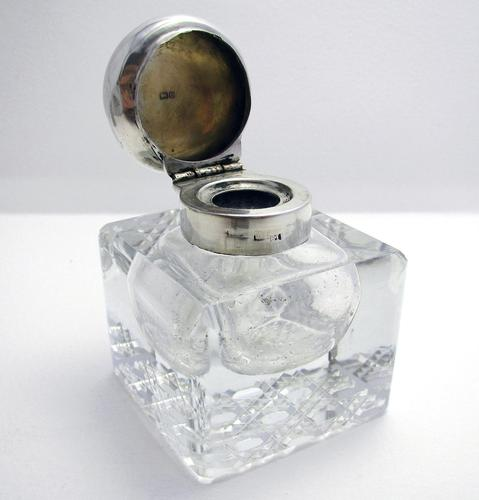 Antique Edwardian Solid Sterling Silver & Cut Glass English Inkwell Ink Pot Box, Plain 1904 (1 of 8)